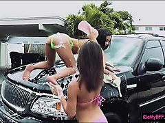 hot bffs washed car and fucked lucky guy to raise a fund