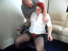 Chubby redhead women gets tied on chair