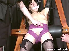Extreme ### Elise Graves tit tormented and electro punished in hard double domination session of bondage and bdsm with