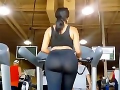 my buddy peeked on stunning sporty hottie on the treadmill in the gym