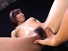 slutty oriental lady is made to cum hard and gets covered i