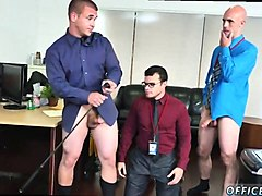 horny office stud chokes on two mega boners