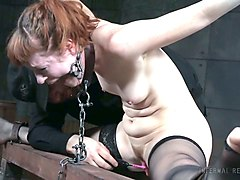 redhead white milf belted and split on the wooden post