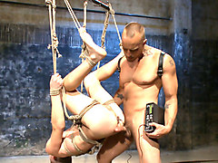 BDSM Virgin tormented with electricity and fucked in suspension