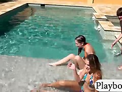 Hot bikini babes twat fucked by the pool