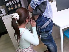japanese housewife sucks a plumber's fat dick in the kitchen