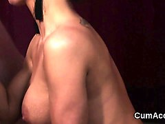 kinky honey gets cum shot on her face eating all the cum