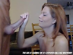 Step mom deepthroating step dad LIVE on cam