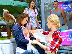 Haley Reed & Layla London & Mila Marx in Catfight on Campus - DigitalPlayground