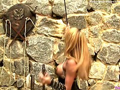 blonde tranny in black leather jerks her fine meat pole outdoors