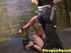 sybian riding sub strapon punished by lezdoms