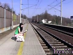 raven haired babe in green outfit masturbates in public
